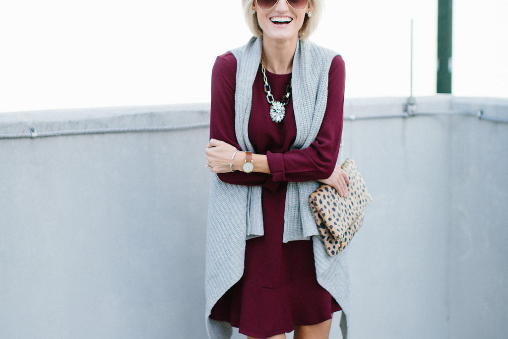 Sweater Vest + Burgundy Dress