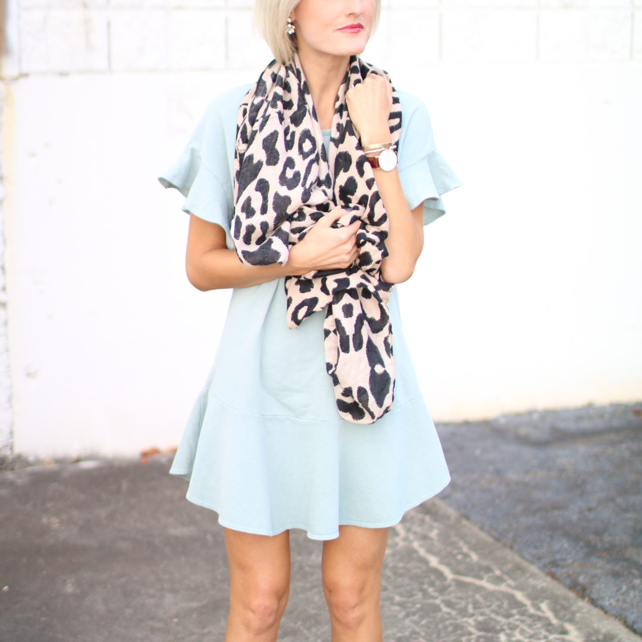 Blue Cotton Ruffle Dress