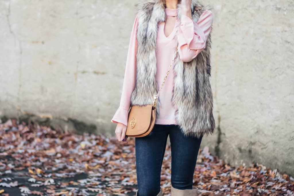 Blush Top & Fur Vest