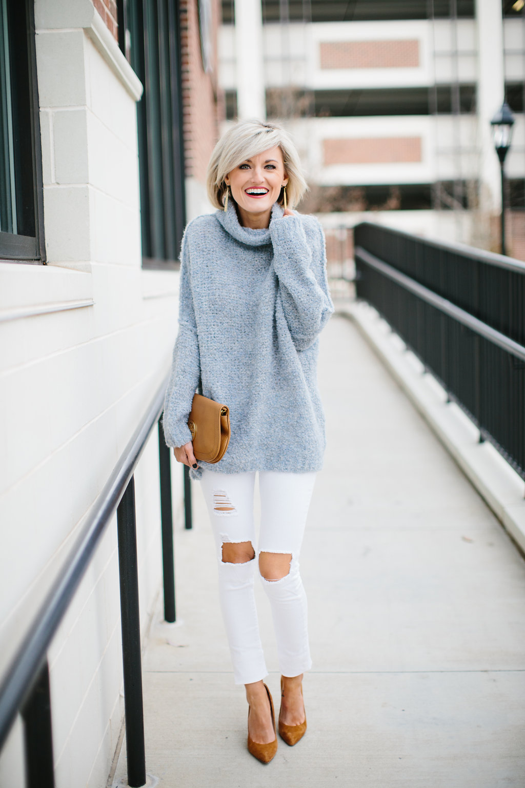 Free People Ice Blue Sweater - Loverly Grey