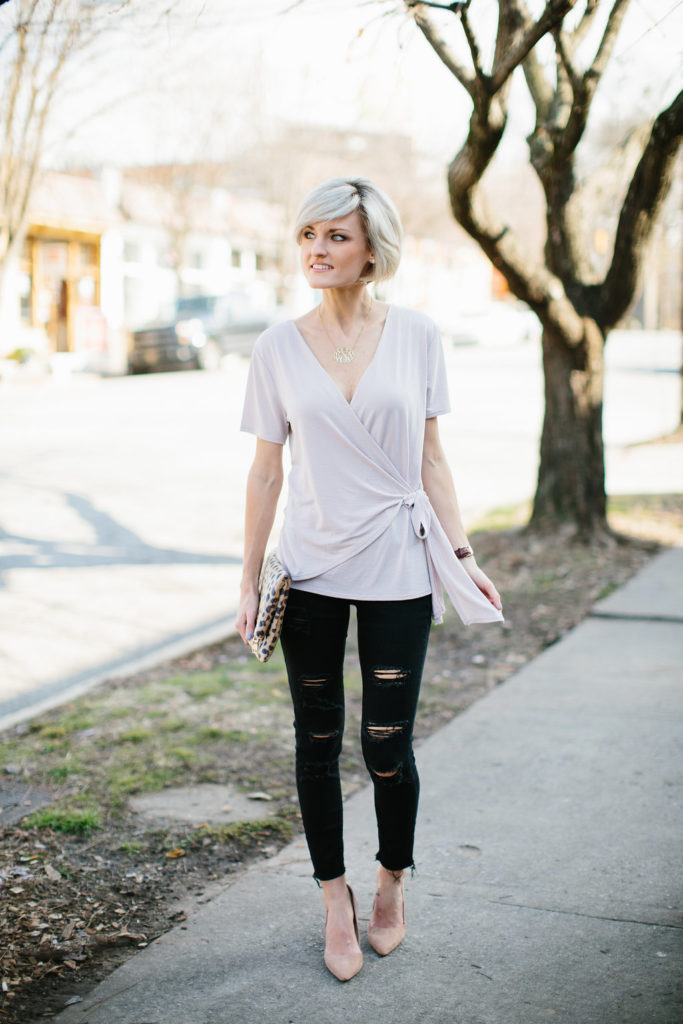 Blush Wrap Top - www.loverlygrey.com