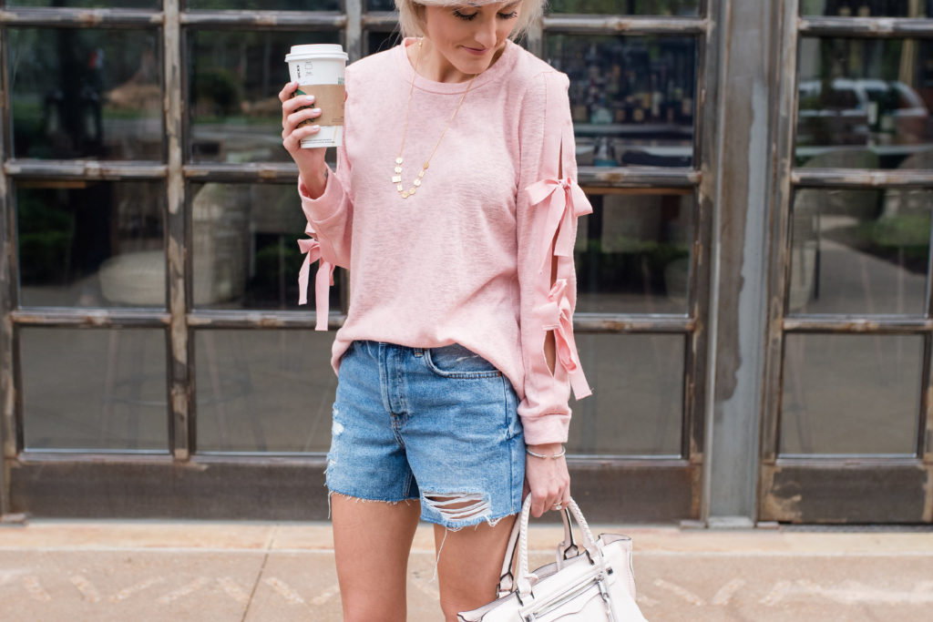 Pink Bow Sleeves + Distressed Denim Shorts
