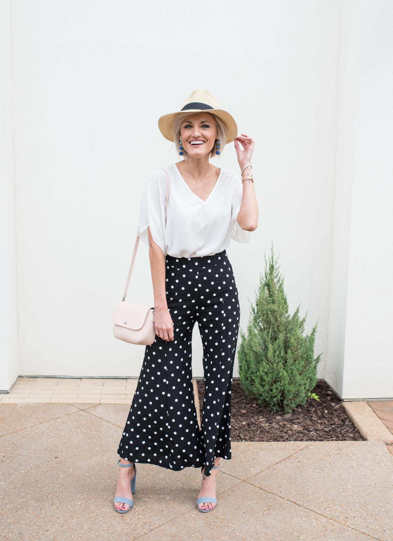 Bodysuit + Polka Dot Flare Pants