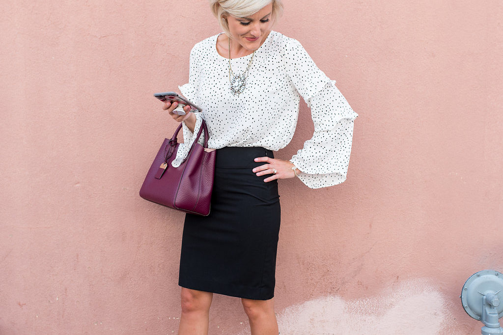 Ruffle Sleeves & Pencil Skirt