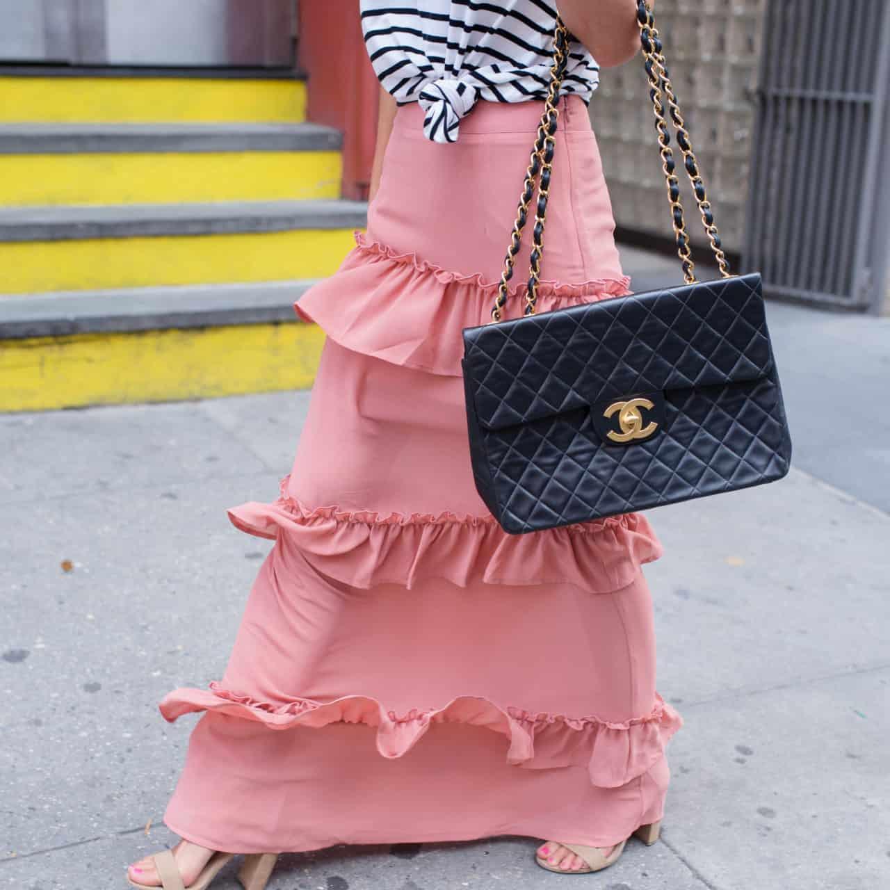 NYFW – Ruffle Skirt + Striped Tee