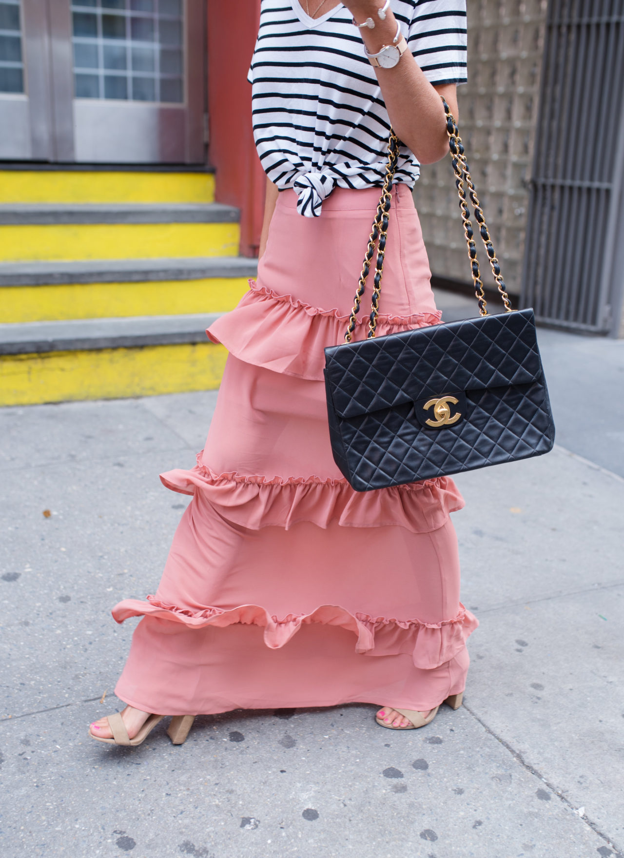 NYFW – Ruffle Skirt + Striped Tee