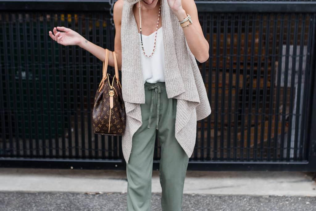 Olive Trousers + Cozy Vest