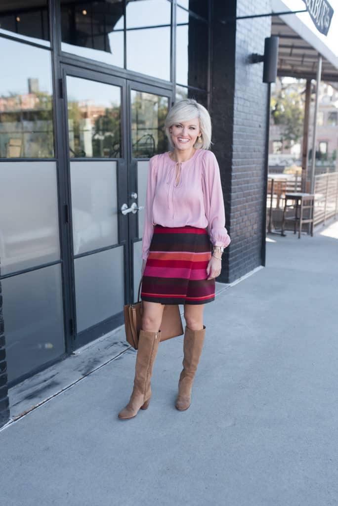 LOFT striped skirt & Blouse - www.loverlygrey.com