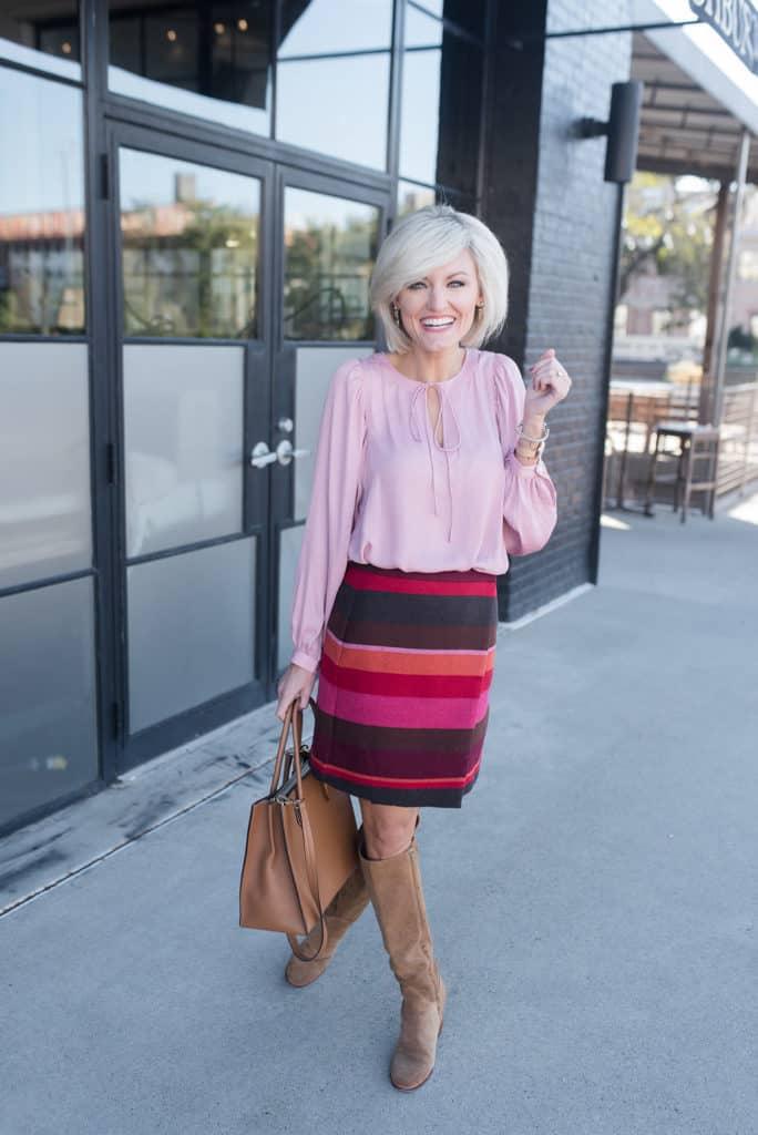 LOFT striped skirt and blouse - www.loverlygrey.com