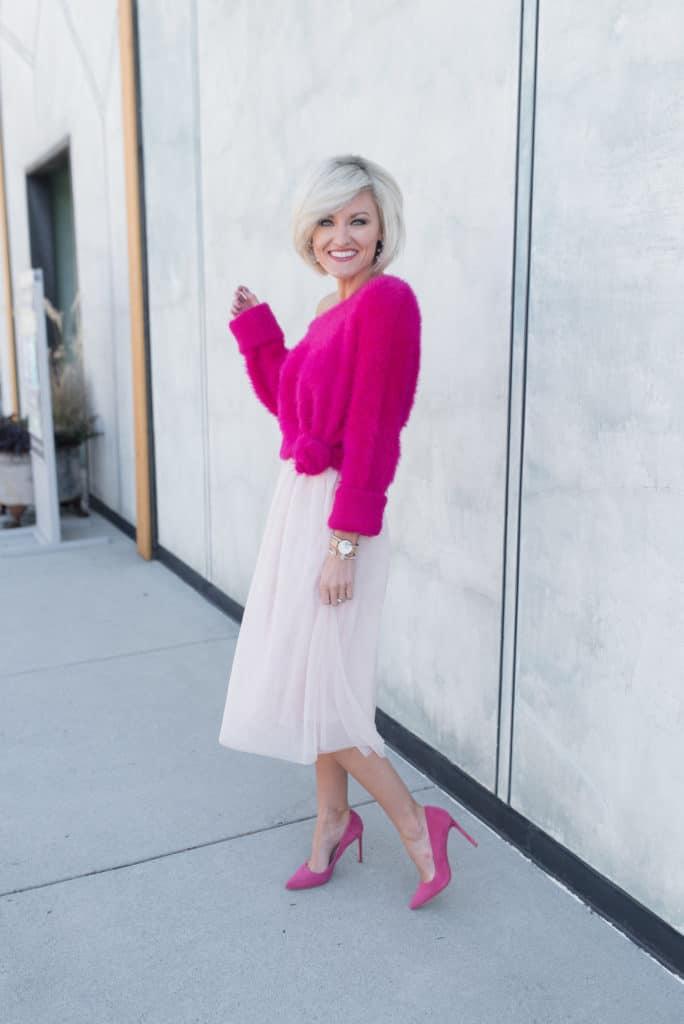 bold pink sweater - www.loverlygrey.com