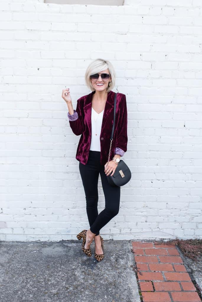 velvet blazer - www.loverlygrey.com