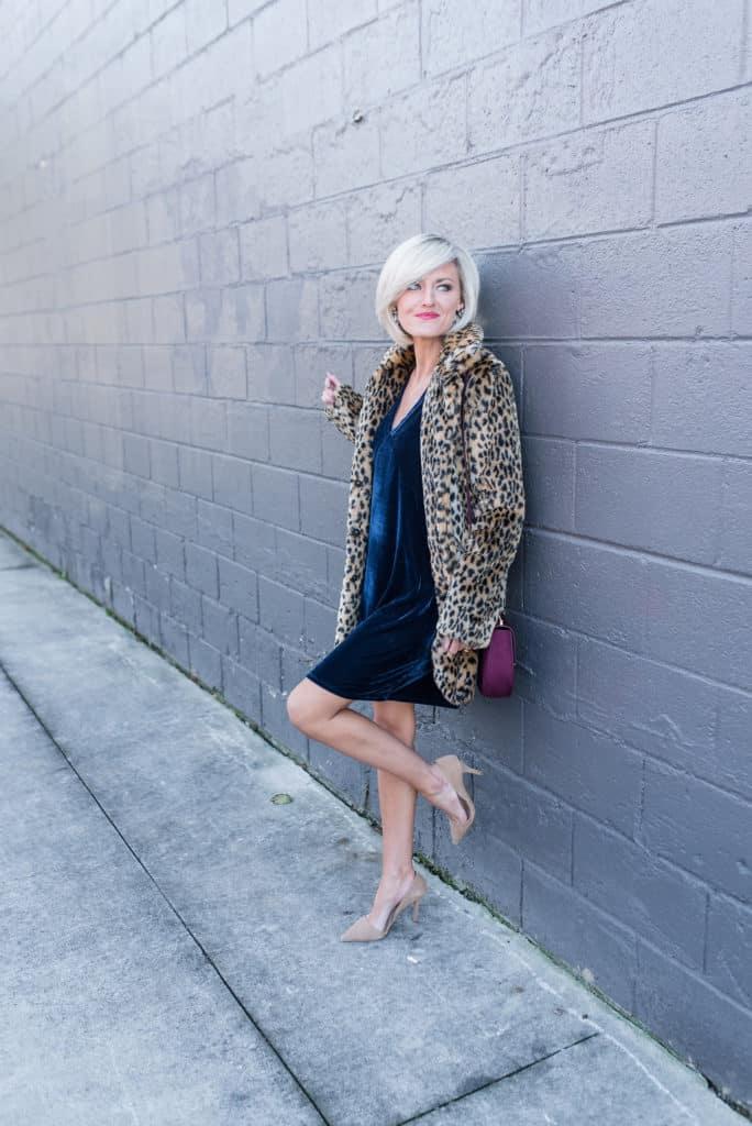 velvet dress + leopard coat
