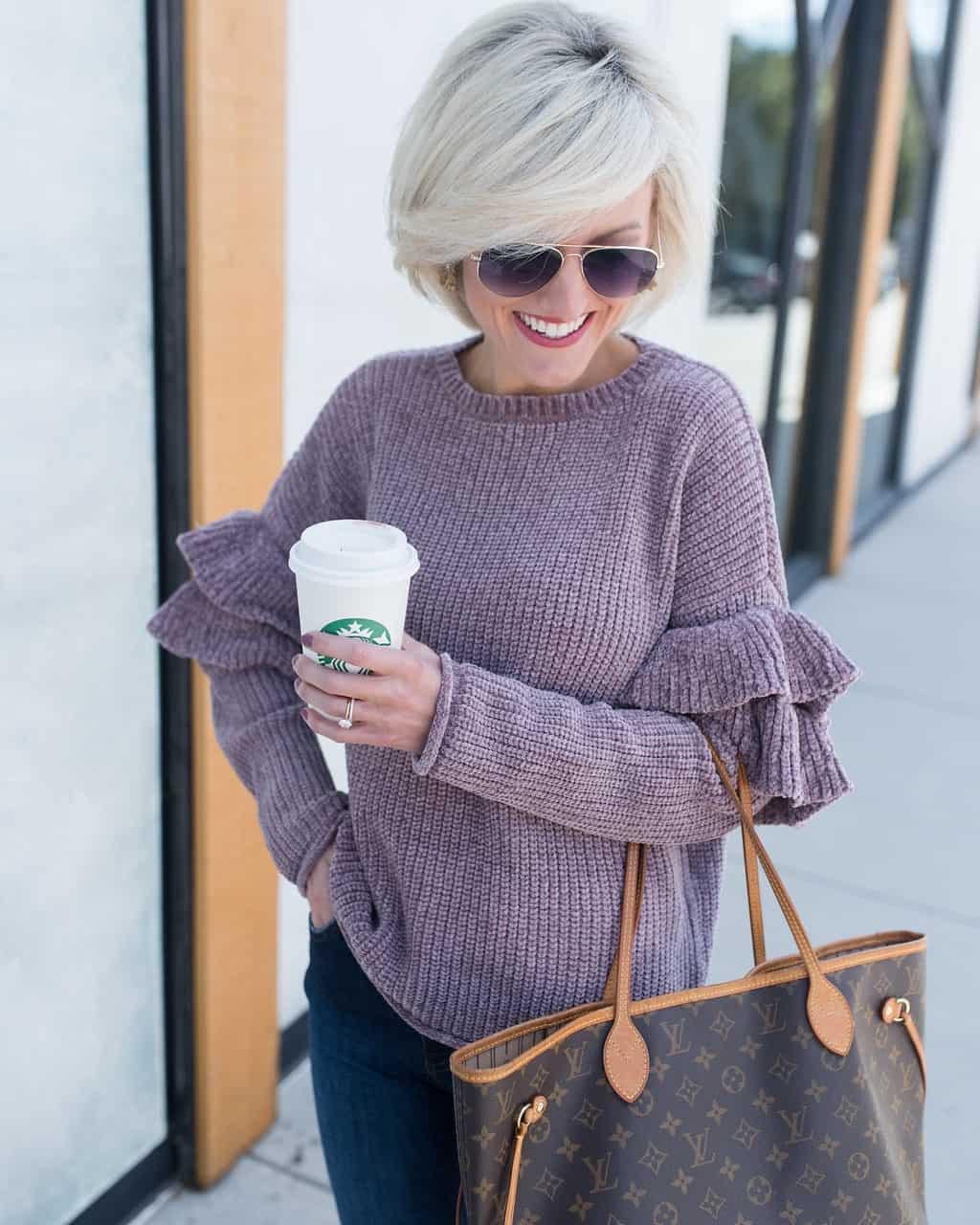 $20 Ruffle Sleeve Sweater