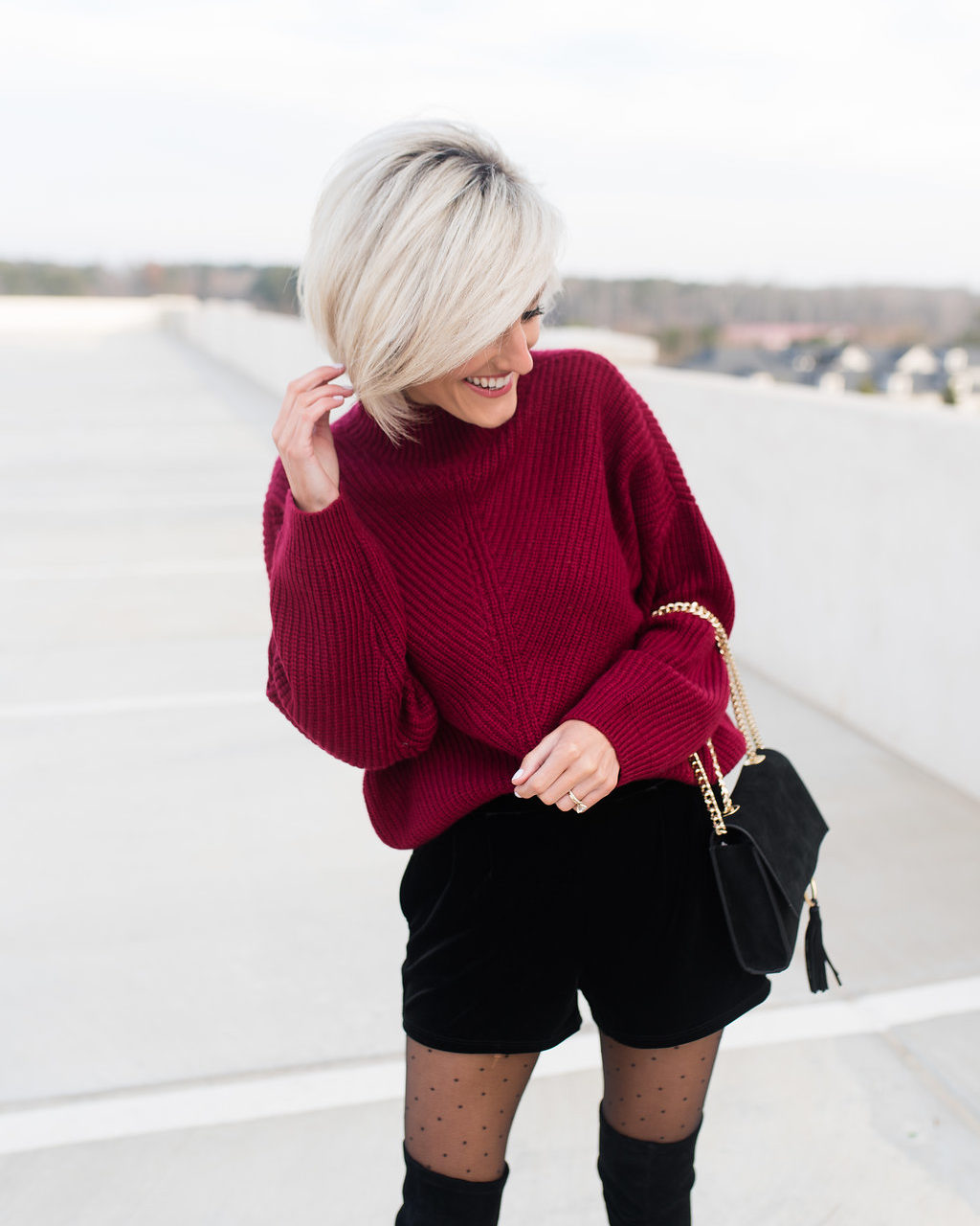 Velvet Shorts + Sweater Holiday Look