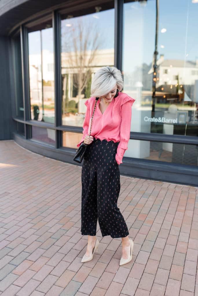 work wear wednesday - scallop waist pants + ruffle blouse - www.loverlygrey.com