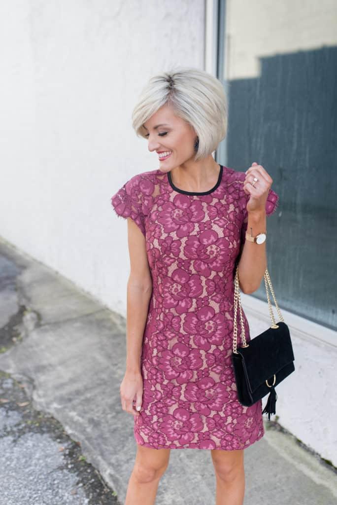 pink lace dress - www.loverlygrey.com