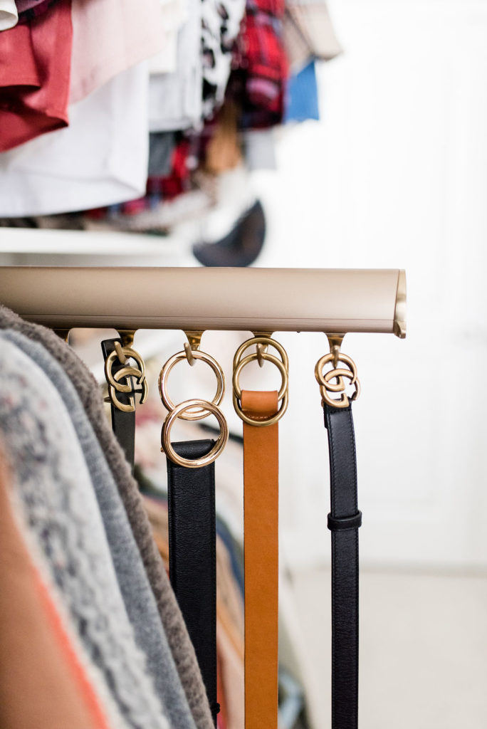 california closets custom walk in belt hanger