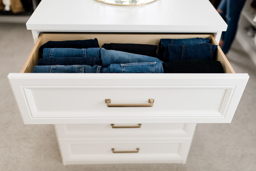 california closets custom walk in jeans in drawer storage