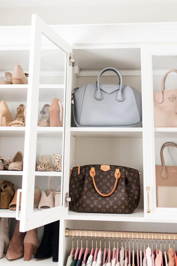 california closets custom walk in glass cabinet with givenchy and louis vuitton handbag storage