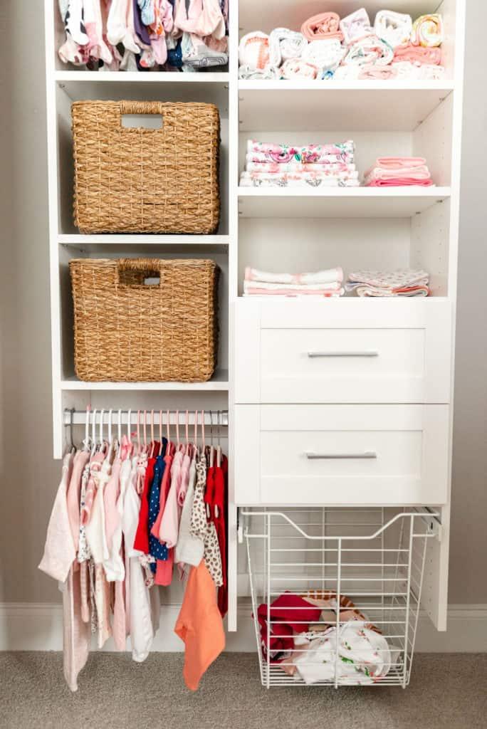 organized baby nursery closet by california closets