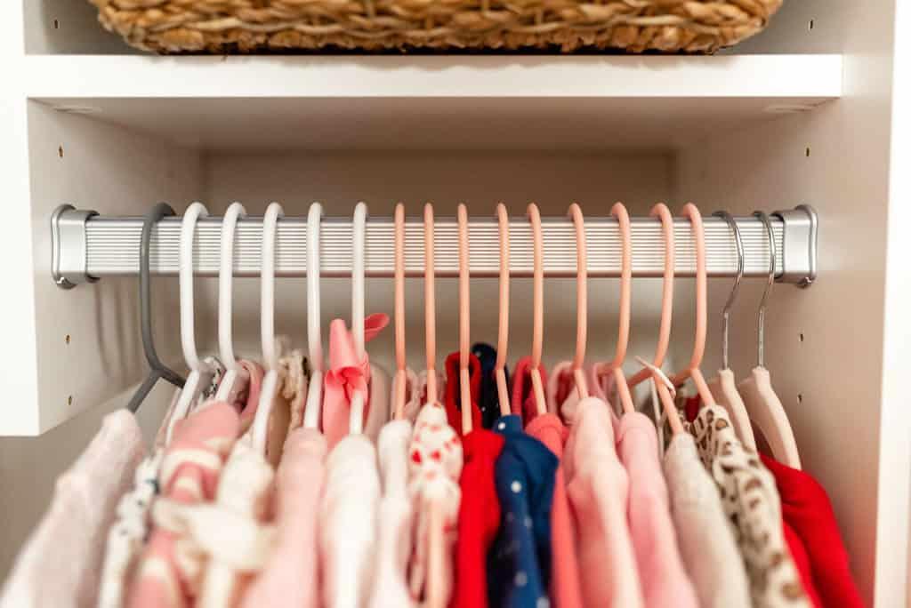 hanging rack in baby nursery closet