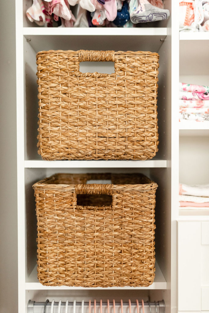 basket bins in california closets baby nursery closet
