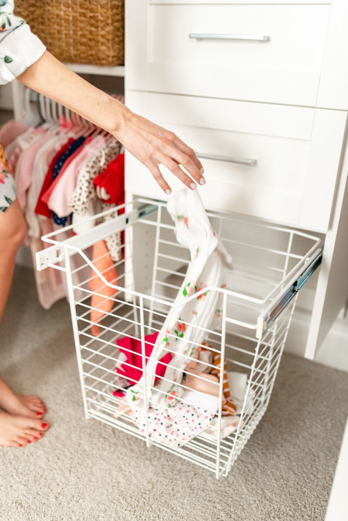 california closets dirty clothes hamper in baby nursery