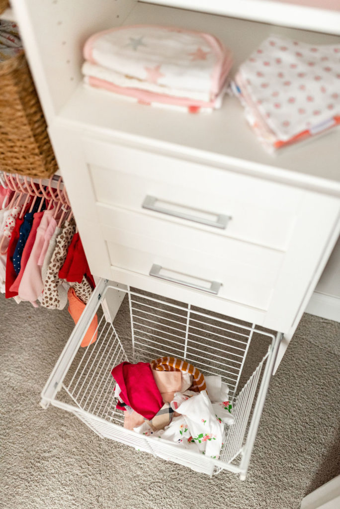 dirty clothes hamper in california closets baby nursery