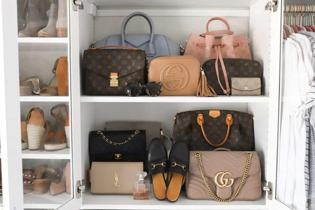 collection of designer handbags louis vuitton, gucci, givenchy, Chanel