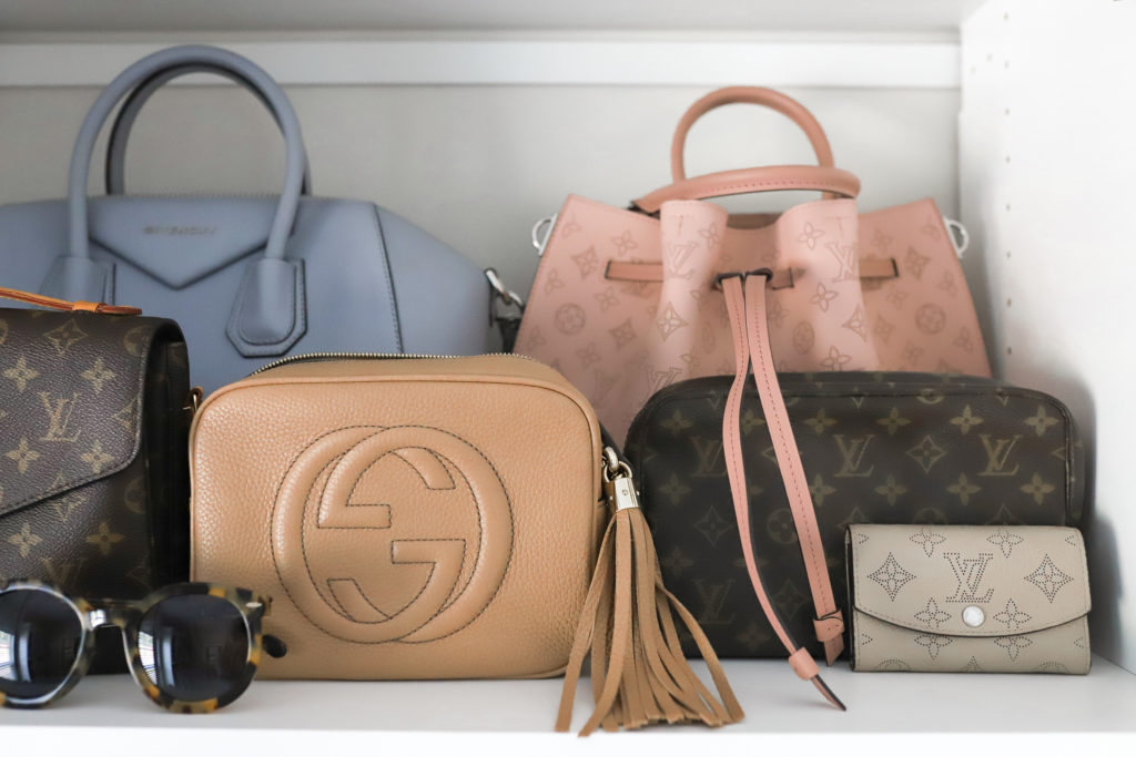 Louis Vuitton, Gucci, and Givenchy handbags and wallets