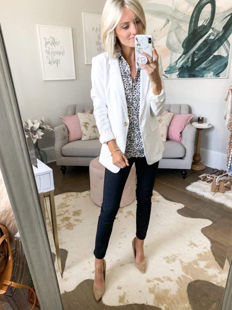 business outfit idea black pants white blazer