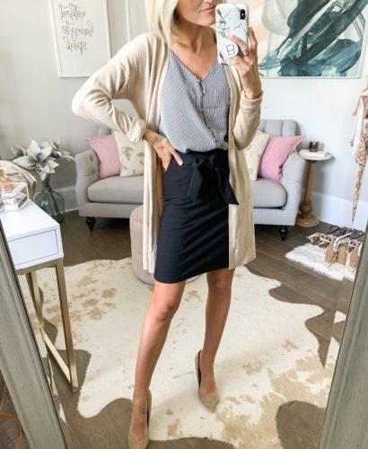 workwear office outfit idea black skirt with cardigan