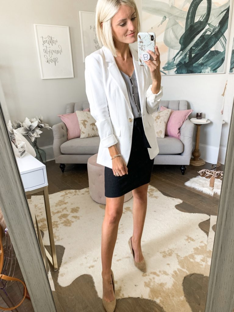 workwear professional outfit idea for summer white blazer