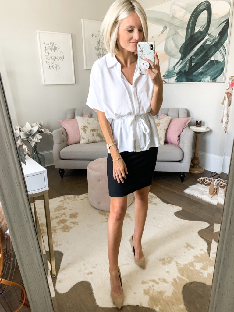 cute workwear outfit idea white blouse black pencil skirt