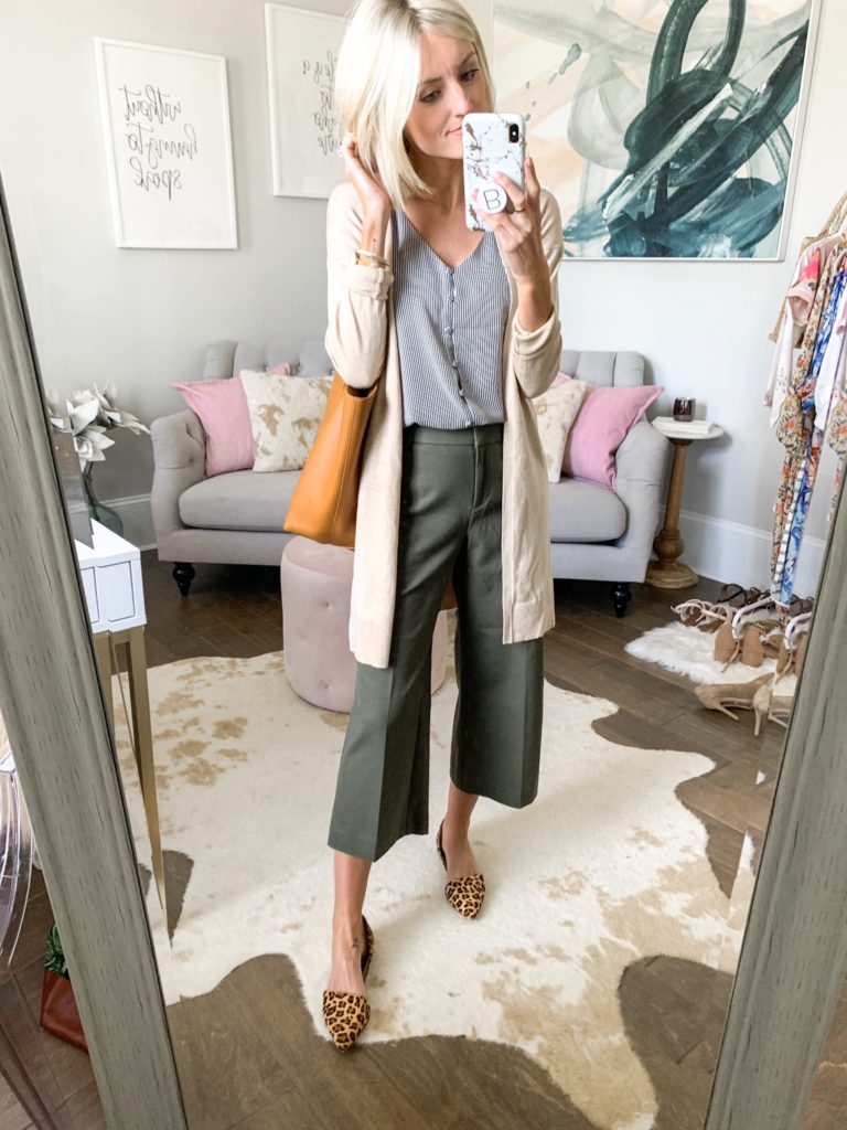 business casual outfit idea olive pants cardigan