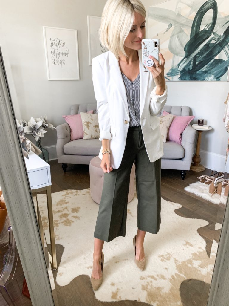 workwear outfit idea professional outfit olive pants white blazer