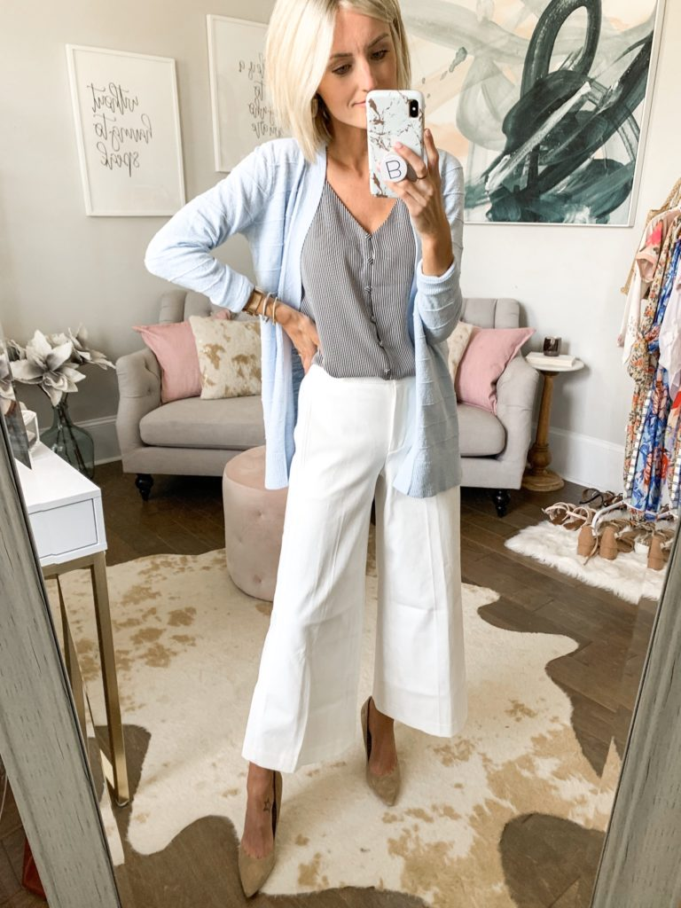 business casual workwear outfit idea white pants summer