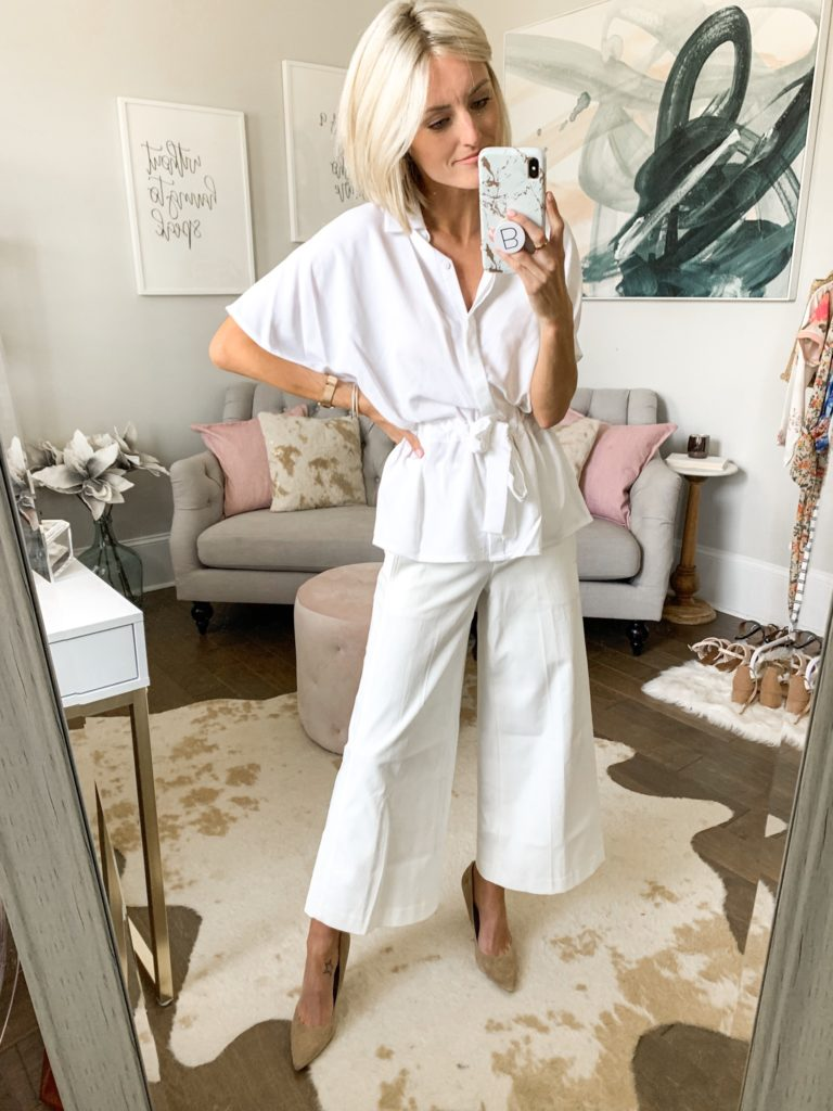summer workwear all white outfit idea business casual