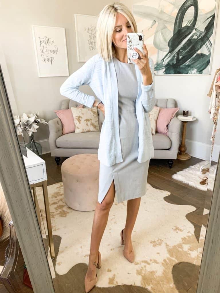 summer workwear outfit idea grey skirt cardigan