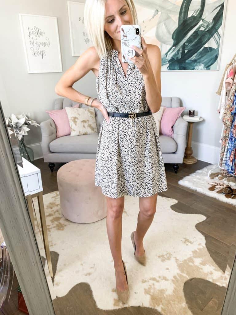 workwear outfit idea leopard dress summer