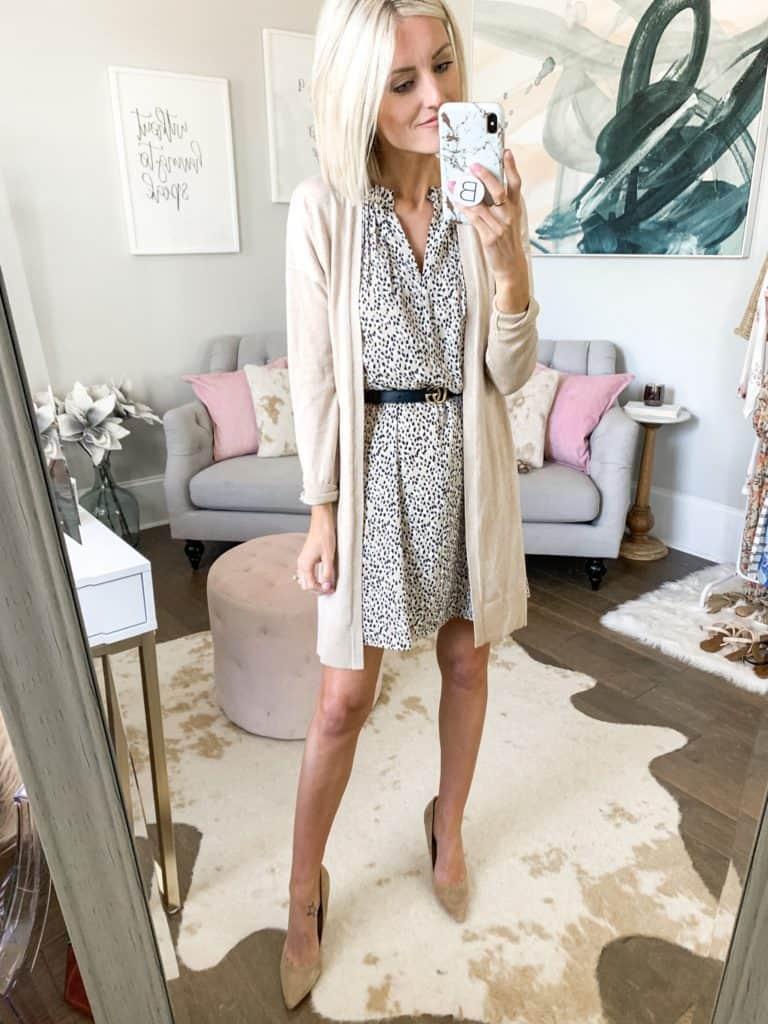 workwear outfit idea leopard dress cardigan