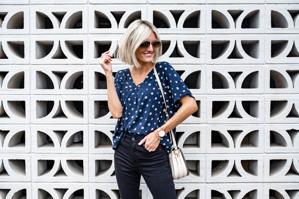 Favorite Black Skinny Jeans + Blouses for Fall