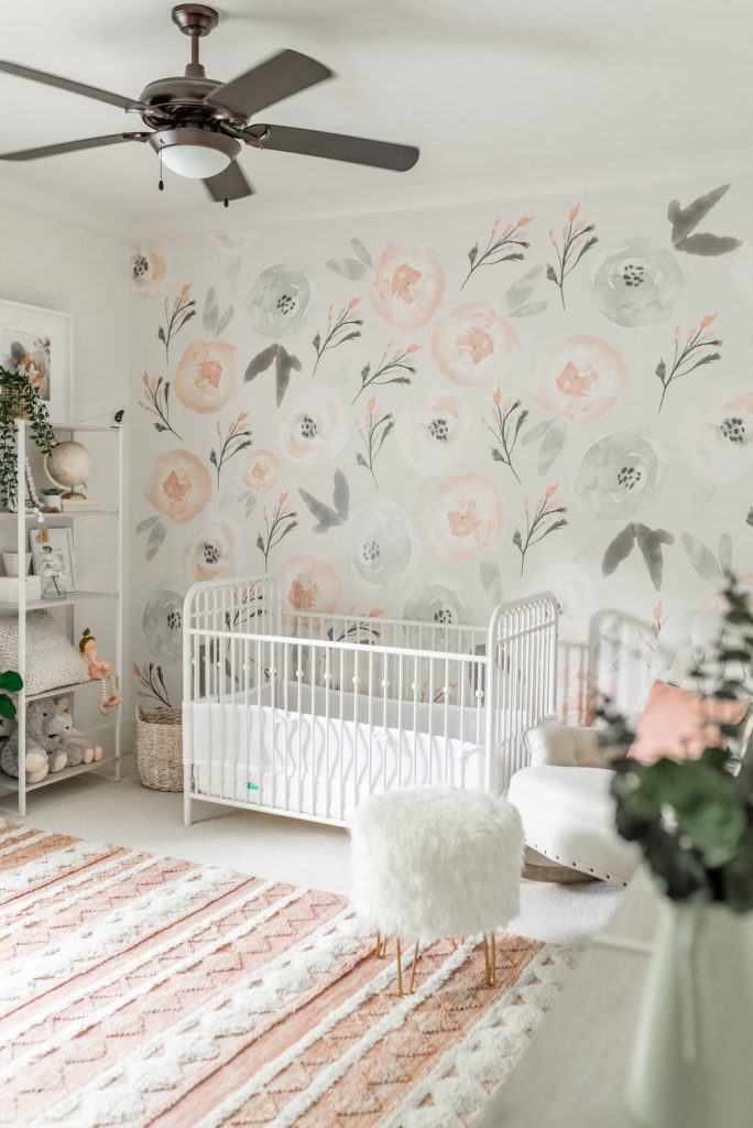 Collins' Nursery Reveal with Decal Floral Wall