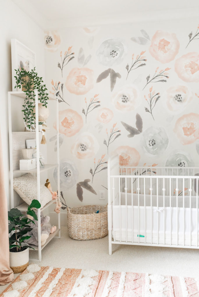 Collins' Nursery Reveal with White Bookshlef