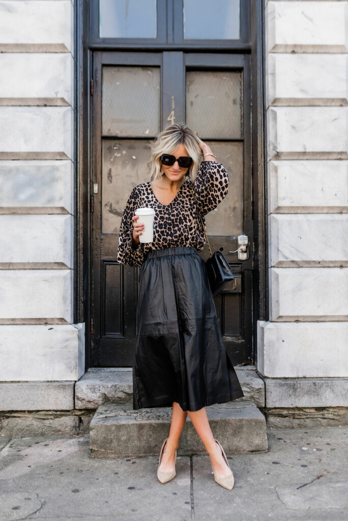 chic Leopard top and black Leather Midi Skirt for Work