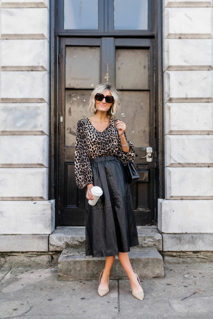 Leopard top and black Leather Midi Skirt for Work