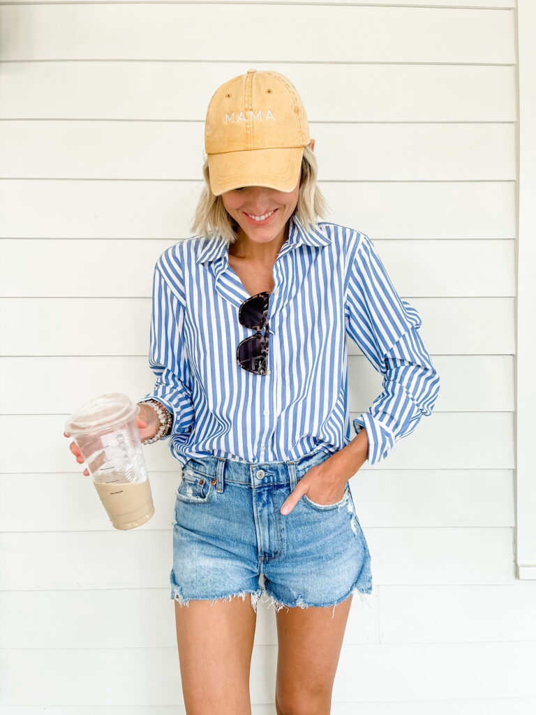 denim shorts and button down