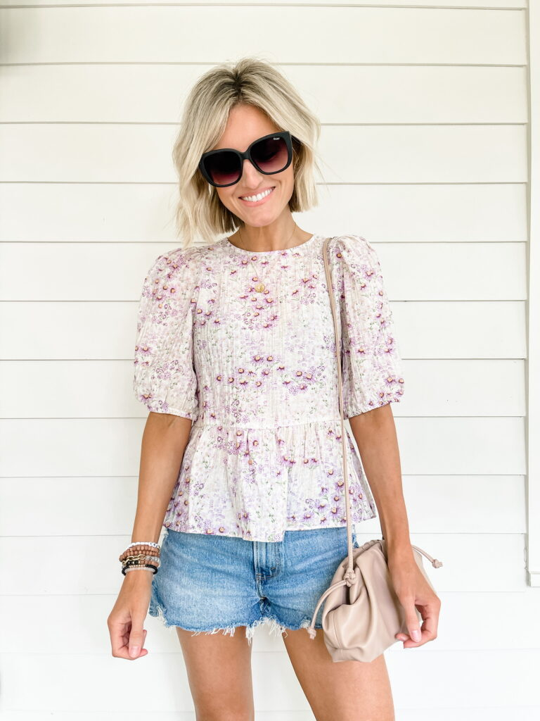 denim shorts and blouse