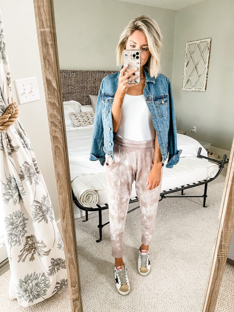 tie dye joggers and white bodysuit