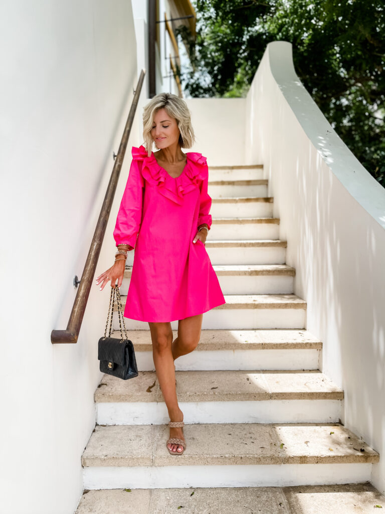pink long sleeve dress for work